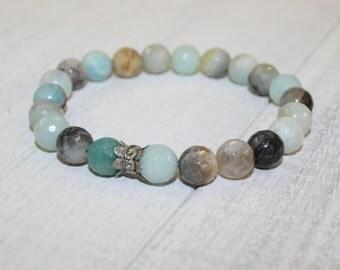 Amazonite bracelet,  Aqua bracelet, Gemstone Bracelet, Stacking bracelet, Yoga jewelry
