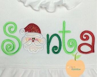 Santa Word Machine Embroidery Applique Design