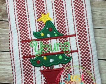 Split Christmas Tree Machine Embroidery Applique Design Buy 2 for 4! Use Coupon Code 50OFF