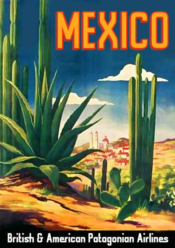 Mexico Travel Poster Vintage Cactus Advert Art Print Wall