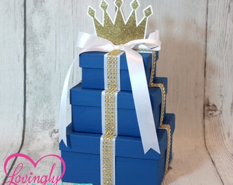 Small Centerpiece   Three Tier Prince Centerpiece   Royal Blue with Gold Rhinestone Ribbon   Additional Colors Available