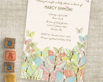 Gender Neutral Butterfly Inviation for Birthday Party or Baby Shower Custom Digital Professional Printing Option