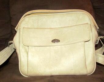 Vintage MARBLED Cream SAMSONITE LUGGAGE Bag