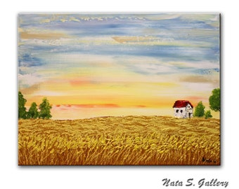 Wheatfield, Landscape Original Painting on Canvas Textured Artwork Palette Knife Acrylic Seasons Art Home Decor FREE SHIPPING  by Nata