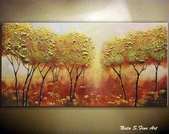"Autumn Tree Painting.Landscape Painting.Textured Tree Painting.Palette Knife.Living Room Decor.Large Artwork 24"" x 48"" Ready to Ship by Nata"