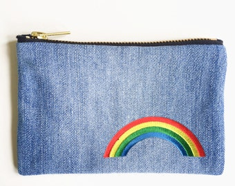 Rainbow Embroidery Wallet - Hand Crafted from Salvaged Jeans
