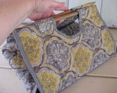 Casserole Carrier Rectangle Washed Out Colors of Gray Taupe Brown Yellow with Gray Trim Quilted Double Side Kitchen Accessories