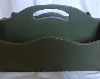 Antique Green Painted Wood Carrier