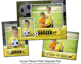 SOCCER PACK C - Memory Mate Sports Photo Templates - Digital Files Only