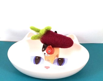 SALE - EggplantCatnip Toy Felted Wool