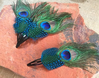Peacock and Pheasant Feather Hairpiece - Peacock Wedding Accessories - Hair Accessories - Peacock Hair Barrette - Wedding Hair Clip