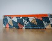 Buckle Dog Collar, Monk, grey, yellow and orange triangles, size medium