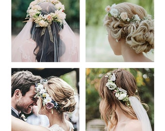 Flower Head Crown Bride Custom headband Wedding accessory Girl hair decoration