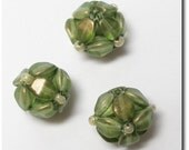 Green Handmade Beads Made from Pinch Beads