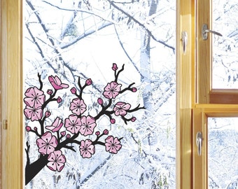 "CLR:WND - Cherry Blossom Branch - Sakura Branch - Window Decal Sticker - ©YYDC (5.5""w x 5.5""h)"