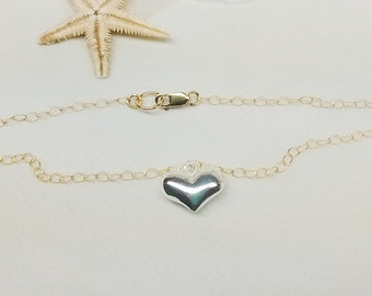 Gold Chain Bracelet 14k Gold Filled Chain Bracelet Silver Heart Bracelet 14k Gold Filled Stamped GF 1/20 Buy Any3+Get1 Free