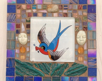 Blue bird mosaic art panel