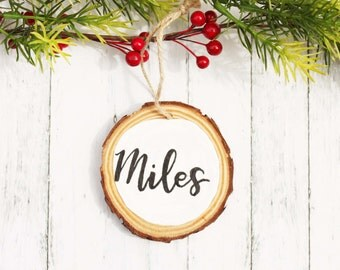 Personalized Wood Slice Ornament, Painted Custom Rustic Tree Ornament, Name Christmas Tree Ornament Holiday Decor