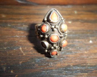 Silver Coral Native American Ring