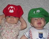 Super Mario Brothers Inspired-INFANT or TODDLER Fleece Luigi & Mario Hats