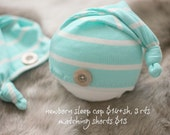 ready to ship, newborn photography prop, upcycled aqua bluel cream striped sleep cap hat with button, newborn baby boy prop, newborn hat