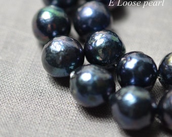 90% Edison Pearl 12-13mm Nucleated Pearl earring bead Round pearl Necklace pearl Freshwater Pearl Loose Bead black Item No : PL4278