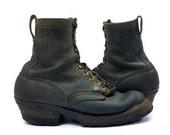 70s Packer Boots Smoke Jumper Black Leather Semi Dress Motorcycle Biker Boots, Mens 9