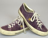 Vintage Converse One Star Burgundy Suede Leather Tennis Shoes, Mens 5 Womens 7