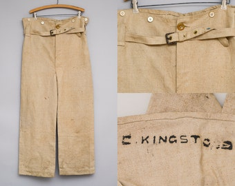 1930s Linen Work Pants Belted Waist Workwear Pants