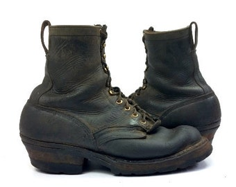 70s Packer Boots Smoke Jumper Black Leather Semi Dress Motorcycle Biker Boots, Mens 9