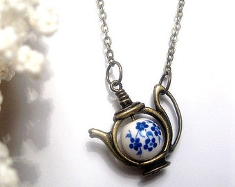 Flower Teapot Necklace - Forget Me Not - Flower Necklace - Blue Flower - Custom Chain Length - Christmas Gift