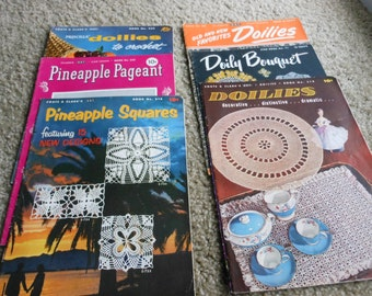 Vintage crochet books by Coats and Clark, and Star, lot of 6