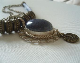Lapis lazuli coin necklace/cabachon lapis lazuli pendant blue/coin necklace ethnic