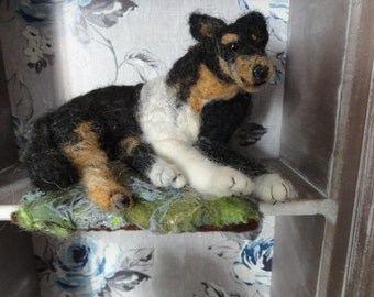 Felted hand made sheep dog