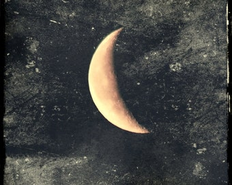 Solitude- waning crescent moon, golden crescent moon, winter moon, grey sky, textured moon photo, grungy moon art, metaphysical art