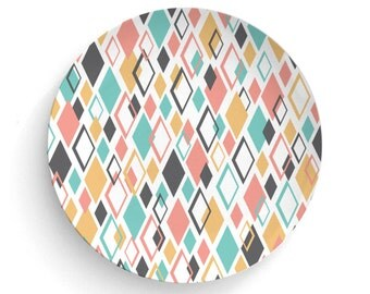 Melamine Plate Retro Aqua Gold Pink No. 3 - Melamine Plate, Retro 60's 70's - atomic era- decorative plate, 70's Retro - gift, Dinner Plate