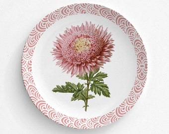 "Pink Chrysanthemum Flower Melamine Plate, Melamine Plate, Vintage Floral Illustration, Kitchen, decorative plate, Dinner Plate, 10"" plate,"