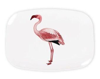 "Pink Flamingo Bird Platter, Melamine Platter, Kitchen, decorative plate, Dinner Plate, 10"" plate, Flamingo decor"