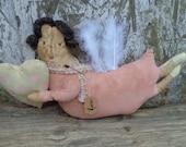 Valentine's Day Primitive Angel Doll Shelf Sitter--Made to Order
