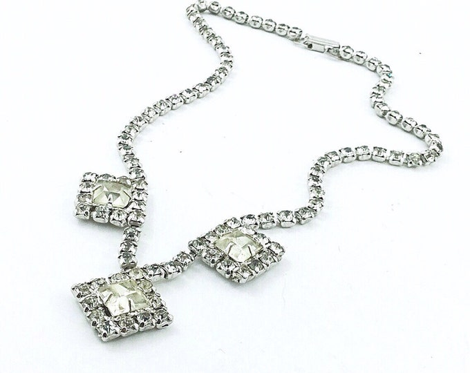 Vintage Clear Rhinestone Necklace with squares. Square Rhinestone necklace. Old Vintage Weiss style necklace. Diamond shapes.