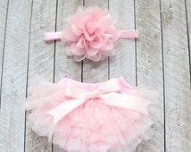 Baby Girl Ruffle Bottom Tutu Bloomer & Headband Set in Light Pink - Newborn Photo Set - Cake Smash - Diaper Cover - Baby Gift - 1st Birthday