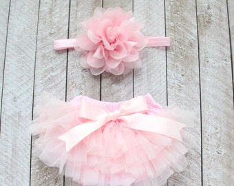 Baby Girl Ruffle Bottom Tutu Bloomer & Headband Set in Light Pink - Newborn Photo Set - Cake Smash - Diaper Cover - Baby Gift - 1st Birthday