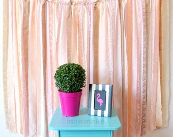 Fabric Backdrop Rag Streamer Garland with Burlap and Lace 4x4