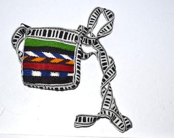 "Vintage mini bag Ethnic Guatemala crossbody  bag rainbow small 4"" x 4.5""  keys and cash holder hand made Boho  Hippie  gift for her New!"