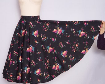 1950s Circle Skirt / 50s Circle Skirt / 50s Novelty Print Circle Skirt / 1950s Fruit Print and Floral Print Skirt / Viva Las Vegas