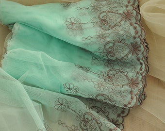 Embroidery Lace Trim in Aqua Mesh 2 yards
