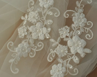 Beaded bridal lace applique pair with hand made rosette blossoms for wedding garter, bridal sash
