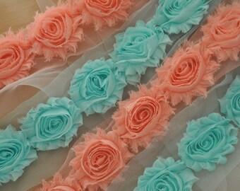 Peach Shabby Rosette Lace Trim for New Born Baby Headband, Garters