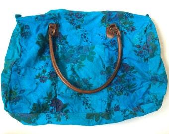 Vintage Overdyed Teal Floral Duffle Bag