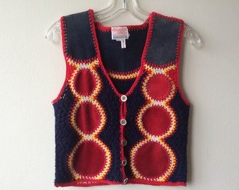 Vintage Suede and Knit Sweater Vest